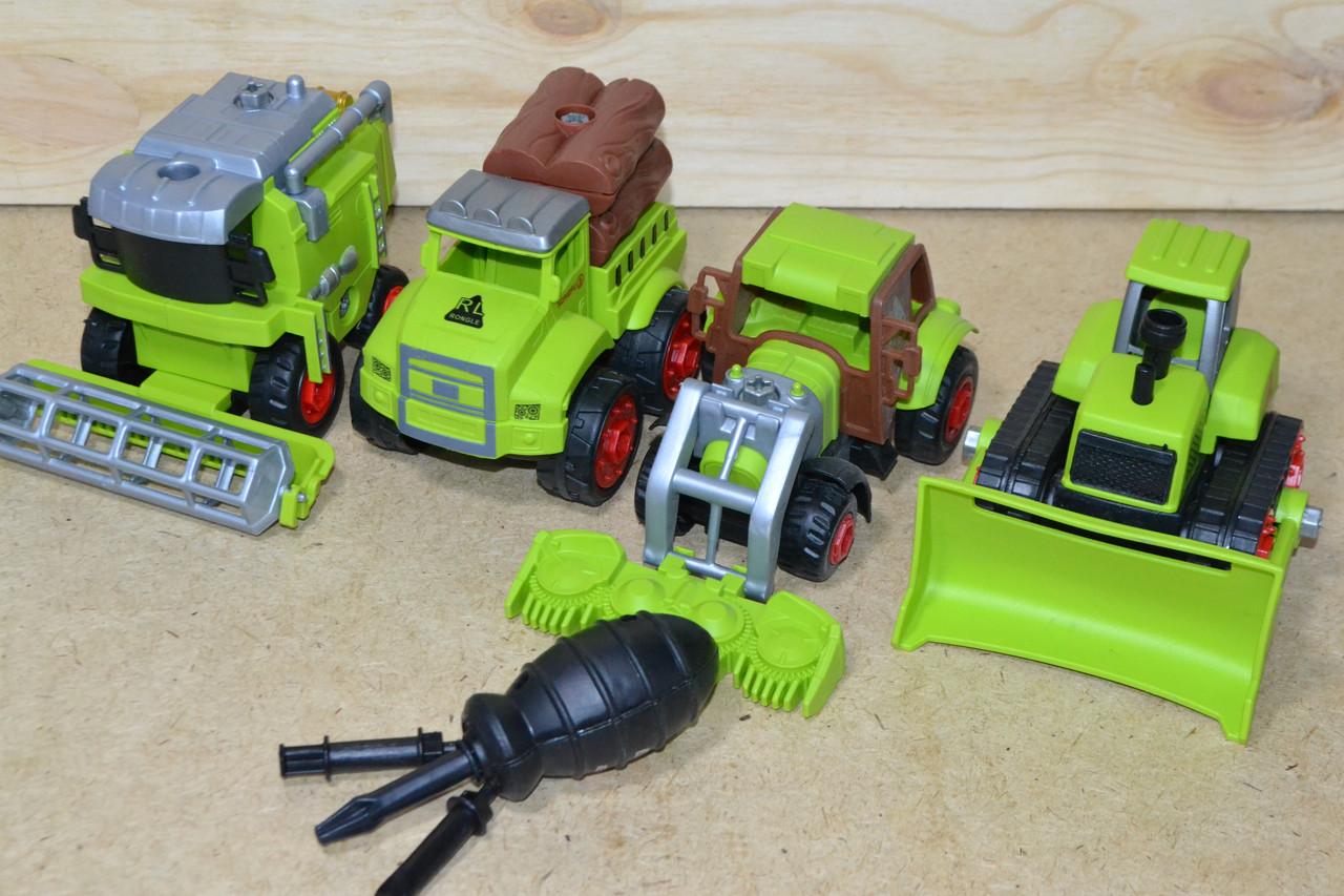 RL589-18D ферма техника 4в1 разбирайка в пакете,зеленый цвет,25*24см