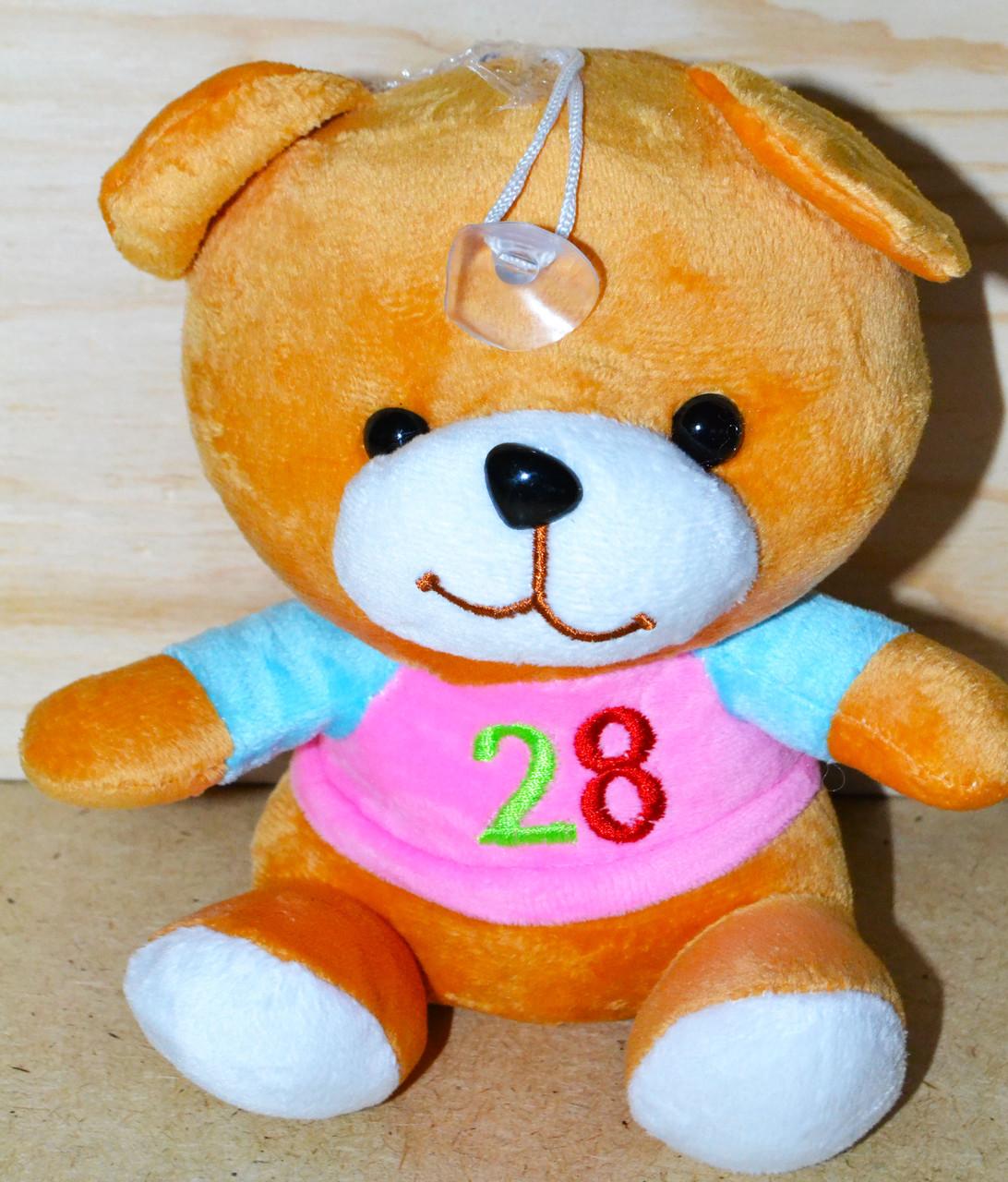 Мишка 20см с кофтой коричневые,цифры
