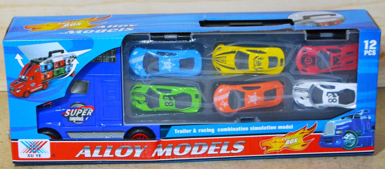 K136A Трейлер +12 спорт. машин металл Alloy Models 37*13см