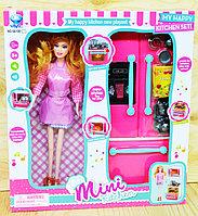 Немного помята!!! 66100-3 Кукла  с фартуком и холодильником Mini Kitchen 33*30см