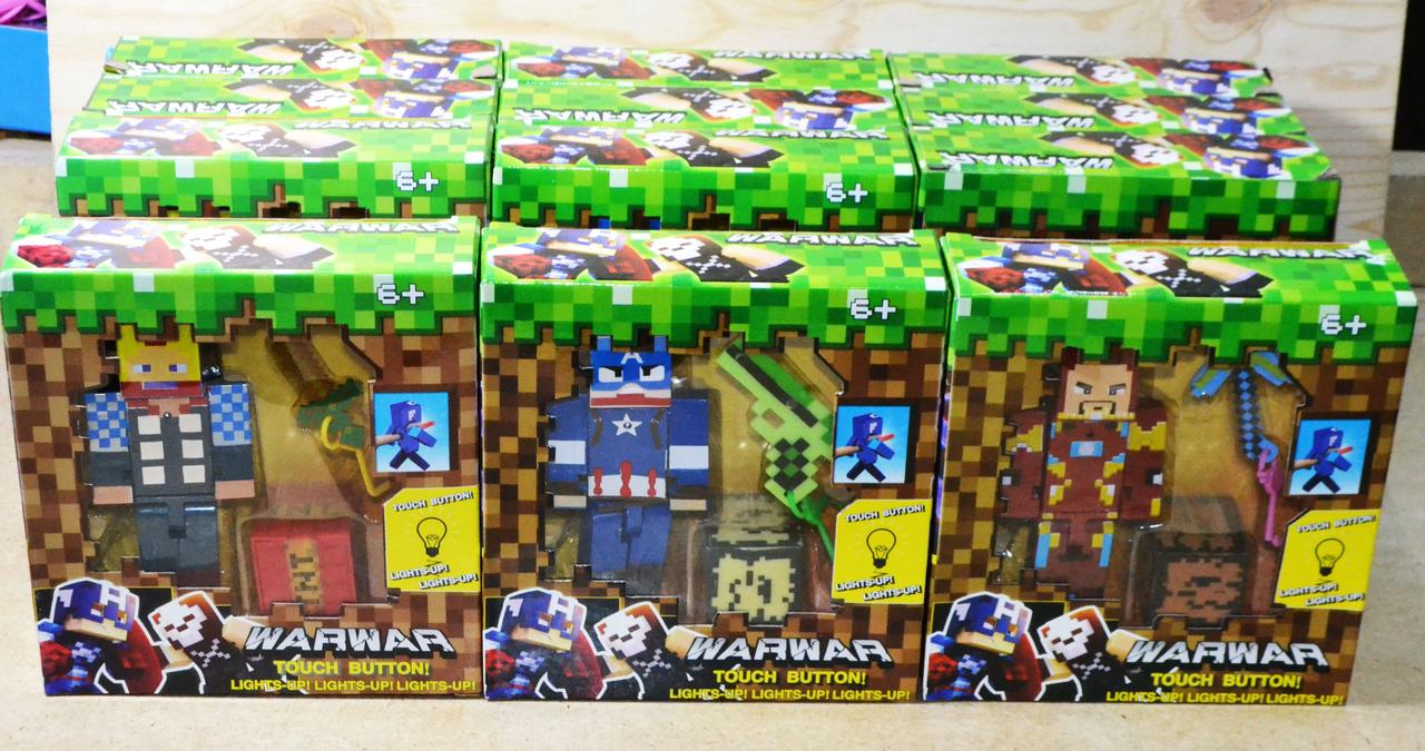 280 Майнкрафт и Мстители герои с оружием 6 видов.,12шт в уп, цена за 1шт 19*17см
