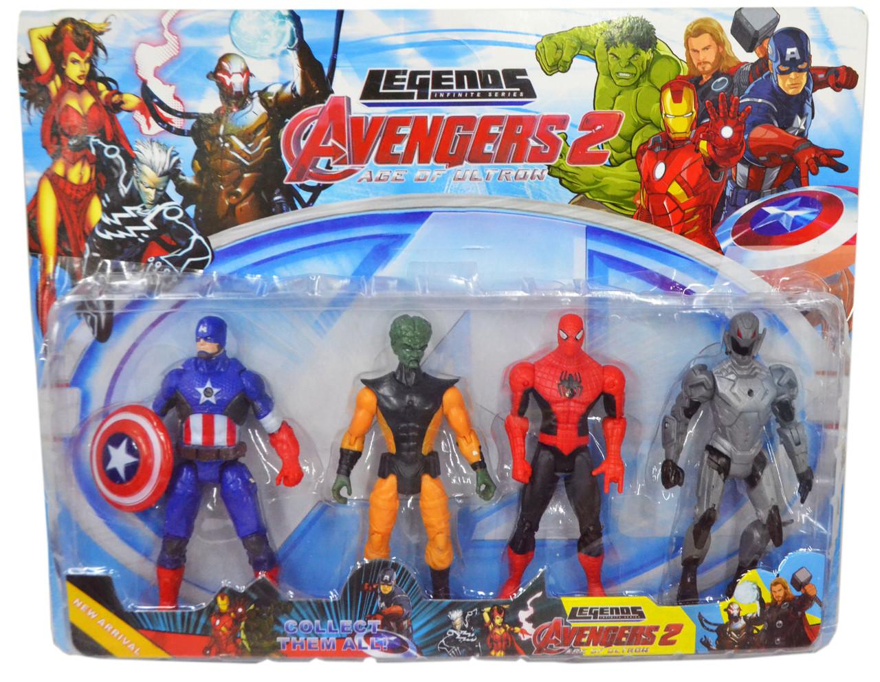 Немного помятая!!! 98895 Герои мстители Avengers 4 шт на блистере 41*33см