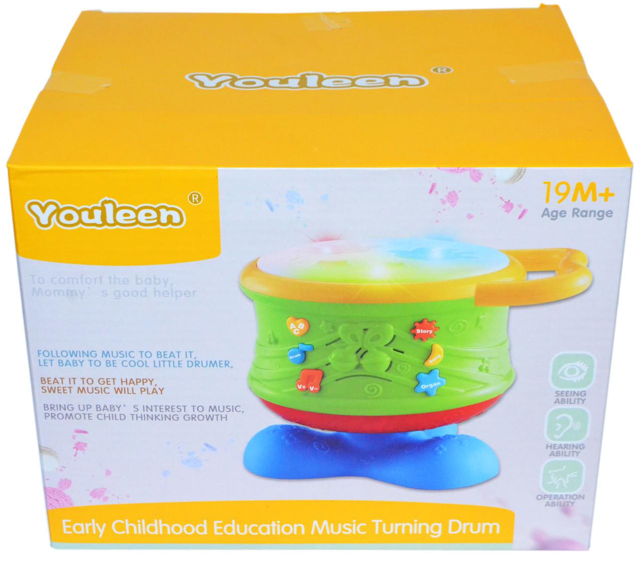 6302 Музыкальный обучающий  барабан Youlen светится  23*18см