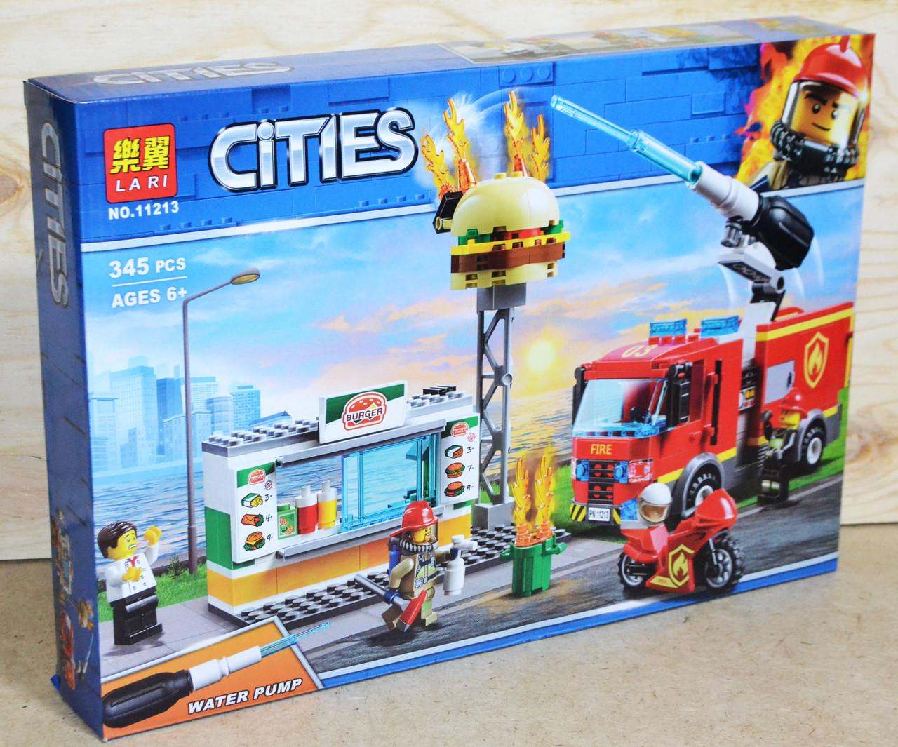 11213 Констр CITIES Пожар в бургер кафе, 39*27см