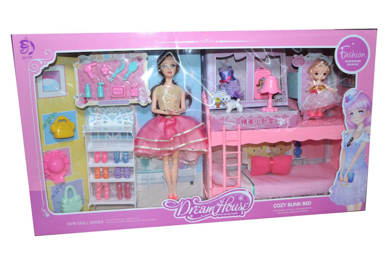 YSN-584 DREAM HOUSE Спальня с мебелью и куклами (обувь, аксессуары) 64*35см
