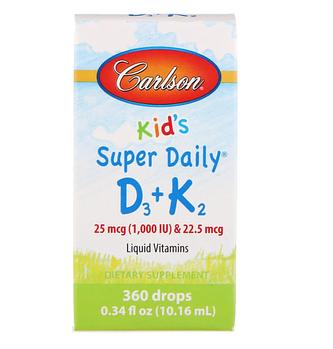 Carlson Labs, Kids, Super Daily D3+K2, 25 мкг (1000 МЕ) и 22,5 мкг, 10,16 мл (0,34 жидкой унции)
