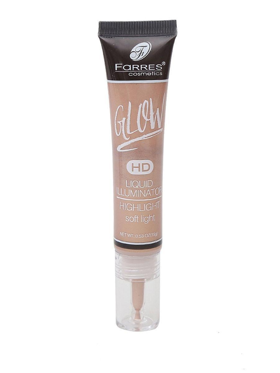 """FARRES cosmetics / Хайлайтер жидкий """"GLOW"""" со стеклянным дозатором Цвет: светло-коричневый"""
