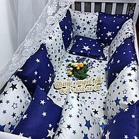 Бортики-подушки 12 штук,простынь анатомическая подушка, без одеяла, набор с одеялом-конверт-16000