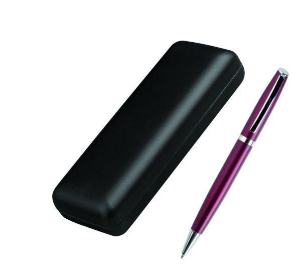 Ручка металлическая, бордовая, в футляре