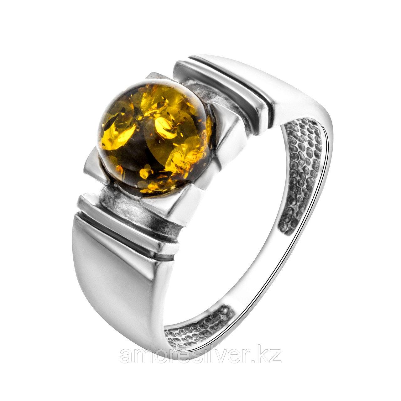 Кольцо Darvin серебро с родием, янтарь, круг 920011028