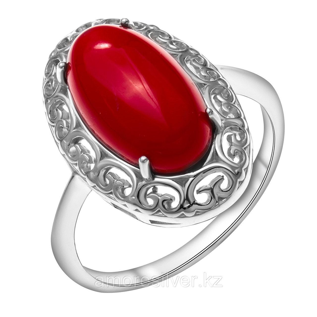Кольцо Приволжский ювелир серебро с родием, коралл, овал 261323-CRL