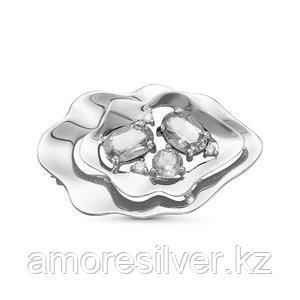 Брошь Delta серебро с родием, фианит, флора с060198