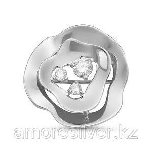 Брошь Delta серебро с родием, фианит, флора с060201