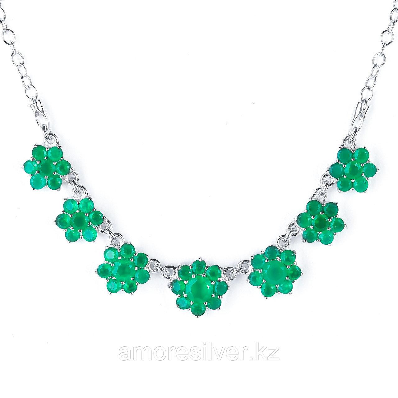 Колье TEOSA серебро с родием, агат зеленый, флора 70011/7-N-AG