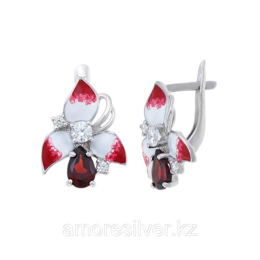 Серьги Инталия серебро с родием, фианит цитрин, флора 21987-9