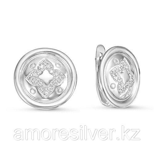 Серьги Дельта серебро с родием, фианит, круг с126034