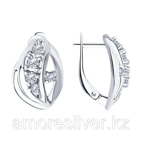 Серьги Diamant (SOKOLOV) серебро с родием, фианит  94-120-00536-1