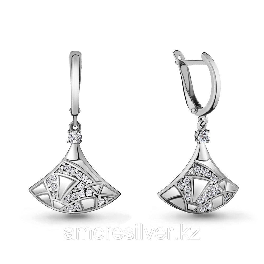 Серьги AQUAMARINE серебро с родием, фианит, геометрия 48111А.5