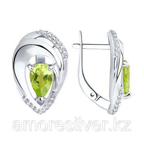 Серьги Diamant (SOKOLOV) , хризолит фианит  94-320-00607-1