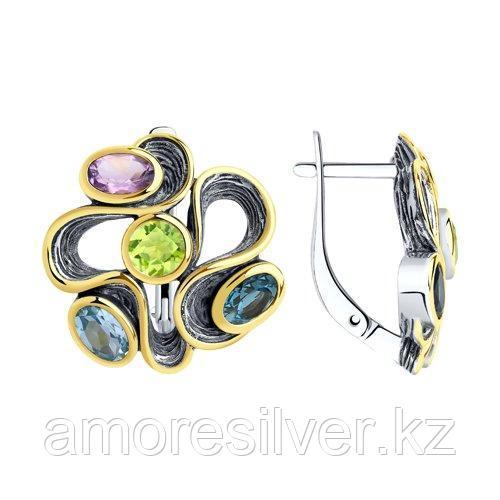 Серьги Diamant (SOKOLOV) из черненного серебра, хризолит топаз аметист 95-320-00374-1
