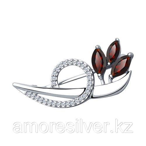 Брошь Diamant (SOKOLOV) , гранат фианит  94-340-00702-1