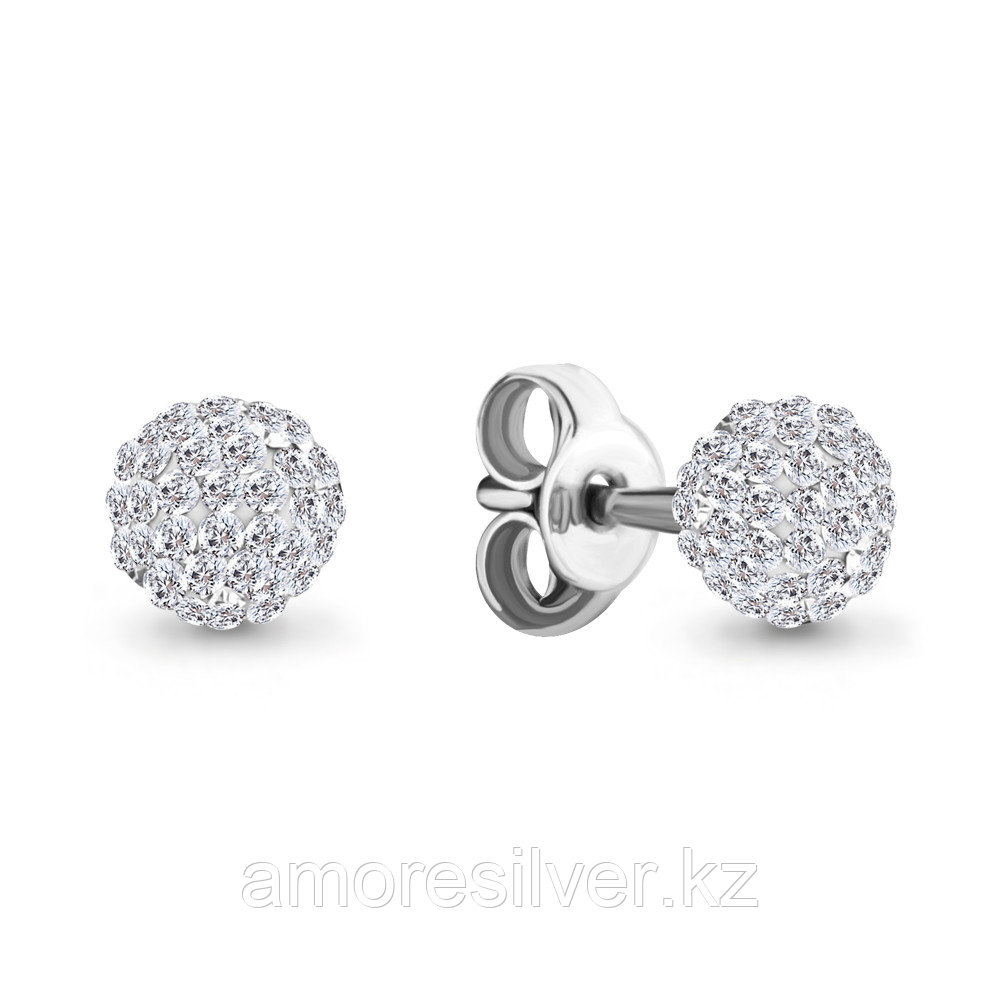 Серьги AQUAMARINE серебро с родием, стекло, геометрия 46534.5