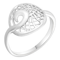 Кольцо Золотые узоры  серебро с родием, без вставок, круг 90-01-6073-00