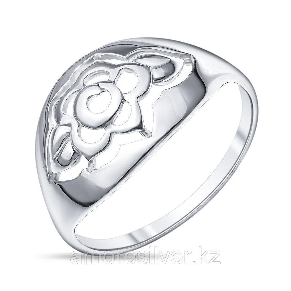 Кольцо Золотые узоры  серебро с родием, без вставок, флора 90-01-5698-00