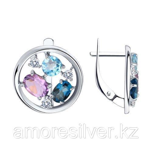 Серьги Diamant (SOKOLOV) серебро с родием, топаз аметист фианит  94-320-00664-1