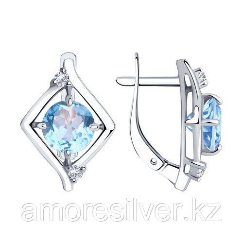 Серьги Diamant (SOKOLOV) серебро с родием, топаз фианит  94-320-00603-1