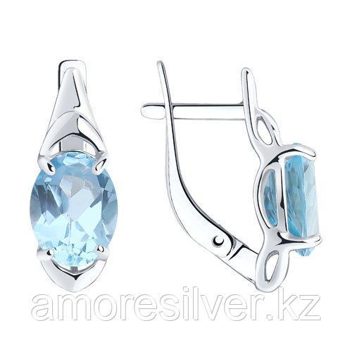 Серьги Diamant (SOKOLOV) серебро с родием, топаз 94-320-00627-1