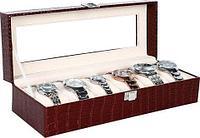Шкатулка в кожаном переплете для хранения наручных часов Banda-C1006 (Красно-коричневый)