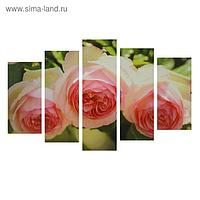 """Картина модульная на подрамнике """"Нежные розы"""" 2-25*52,2-25*66,5,1-25*80,80*140 см"""