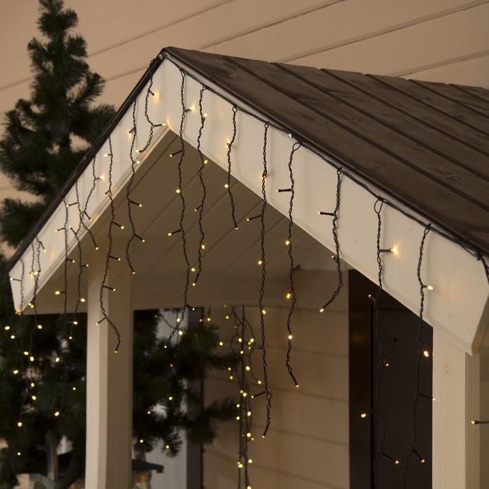 """Гирлянда """"Бахрома"""" 4 х 0.6 м , IP44, тёмная нить, 180 LED, свечение тёплое белое, 8 режимов, 220 В"""