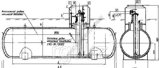 Резервуар газовый подземный двустенный для СУГ
