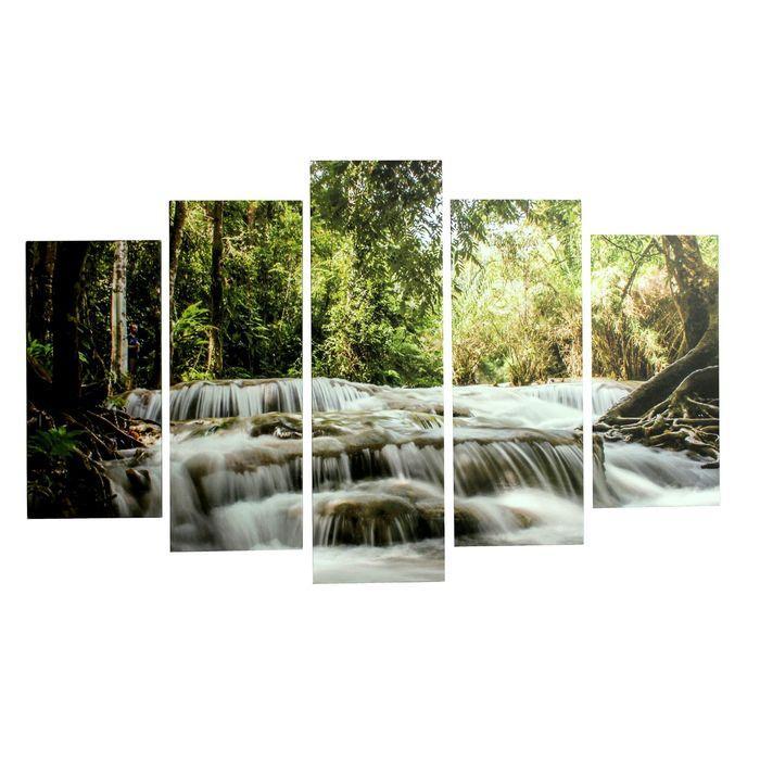 """Модульная картина на подрамнике """"Быстрая река"""", 2 — 25×52, 2 — 25×67, 1 — 25×80, 80×125 см"""