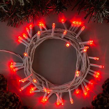"""Гирлянда """"Нить"""" 5 м , IP20, белая нить, 50 LED, свечение красное, 8 режимов, 220 В"""