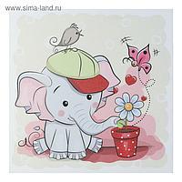 """Картина """"Слоник с цветочком"""" 35х35 см"""