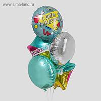 """Букет из фольгированных шаров """"С днем рождения. Диско"""" набор 5 шт."""