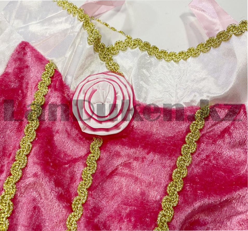 Костюм детский карнавальный Спящая Красавица Аврора принцесса для девочек розовое XF-6935 - фото 7