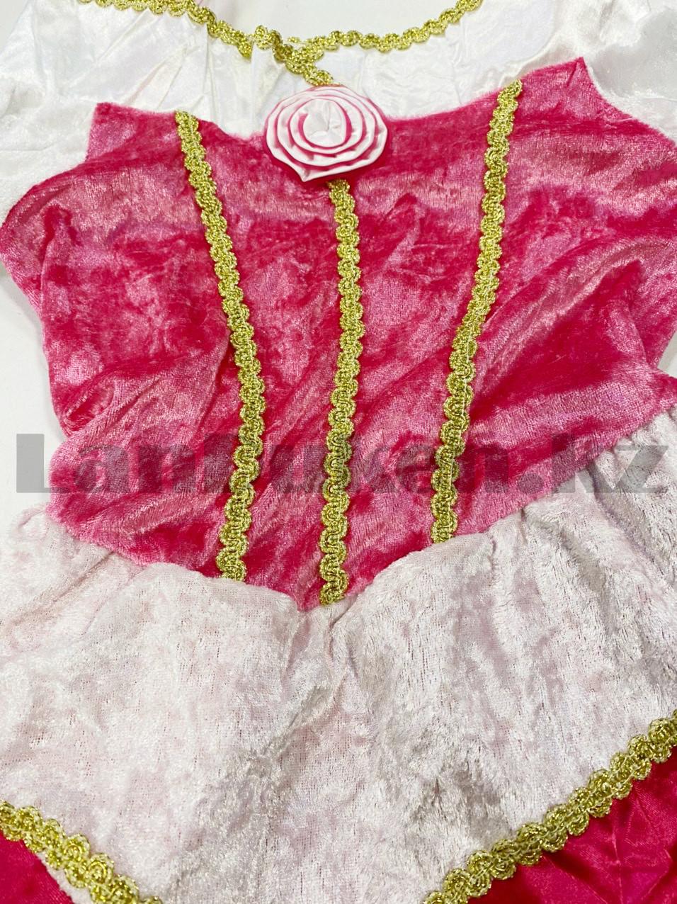 Костюм детский карнавальный Спящая Красавица Аврора принцесса для девочек розовое XF-6935 - фото 8