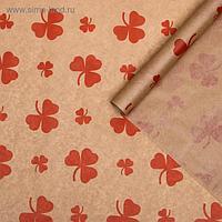 """Бумага упаковочная крафт """"Цветок красный"""", 0,72 х 10 м, 40 г"""