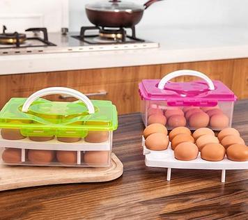 Уценка (товар с небольшим дефектом) Контейнер для хранения яиц (24 шт.), цвет розовый