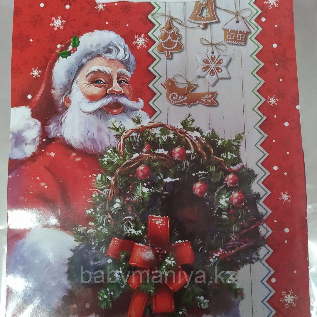Пакет подарочный бумажный Новогодний Дед Мороз 32*26*10 см