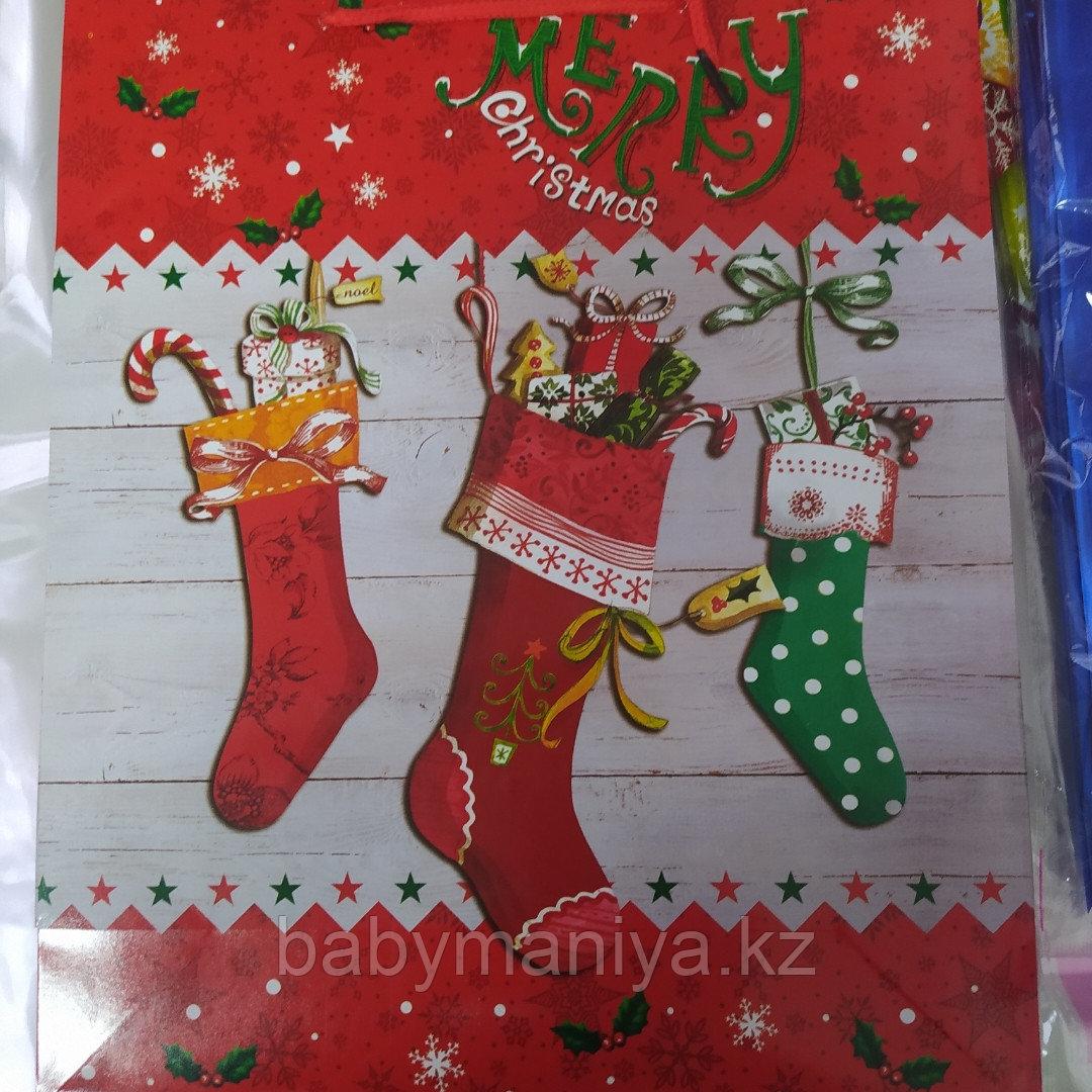 Пакет подарочный бумажный Новогодний С Рождеством 32*26*10 см