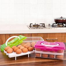 Уценка (товар с небольшим дефектом) Контейнер для хранения яиц (24 шт.), цвет розовый, фото 3