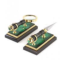 """Канцелярский набор лупа и нож """"Малахит"""" в подарочной коробке Златоуст"""