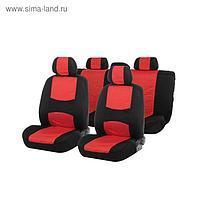 Авточехлы TORSO Premium универсальные, 9 предметов, чёрно-красный AV-5