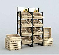 Рекламное оборудование овощные деревянные стеллажи витрина стенды для магазина деревянные стеллажи