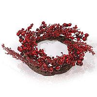 Венок d38см декор Рождественский с красными ягодами